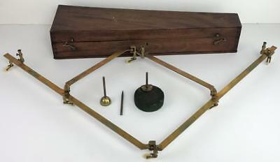 Antique Early 1800's CARY LONDON Brass Drawing Instrument Pantograph w Wood Case