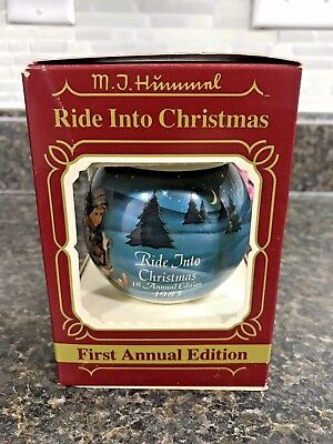 1983 Goebel MJ Hummel First Edition Ride Into Christmas Glass Ornament w/Box