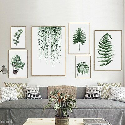 Nordic Green Plant Leaf Canvas Poster Painting Wall Picture Home Decor 11 Styles