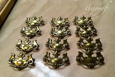"""12 Vintage Brass Chippendale Style Drawer Pulls - 4"""" Across"""