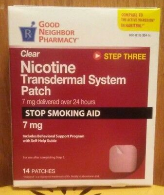 Good neighbor pharmacy Clear Step 3 Nicotine Patch 7mg - 14 patches - Exp 4/2019