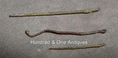 Ancient Pre-Columbian 3 Copper Sewing Needles Moche 100 B.C. Over 2100 Year Old