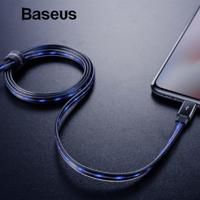 Baseus Flow LED Light-up Lightning Charger USB Cable iPhone XS Max XR X 8 7 6s