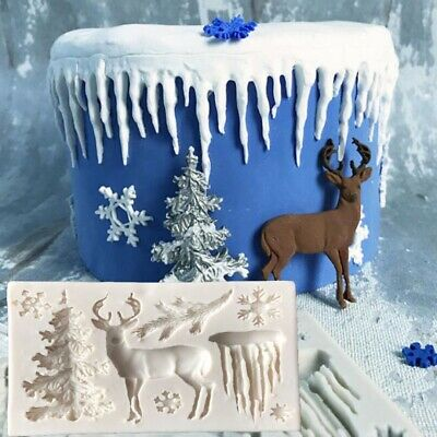 Christmas Tree Deer Fondant Chocolate Mould Cake Decorating Mold Silicone