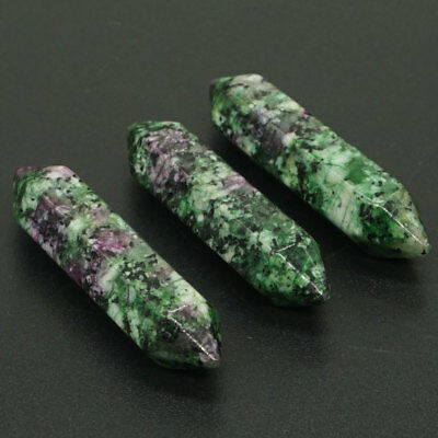 3PC Natural Gemstone Ruby Zoisite Hexagon Column Unique Crystal CAB Cabochon