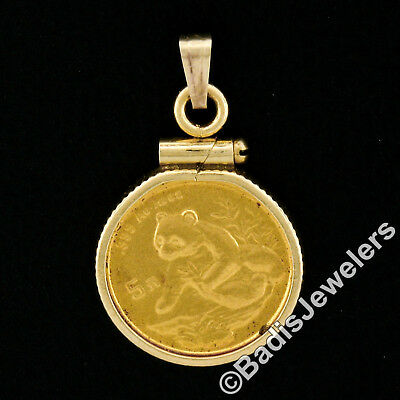 Vintage 1998 Sm Date .999 Pure Gold 1/20 Oz Chinese Panda Coin 14k Pendant Frame