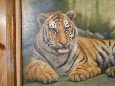 Beautiful Large Oil on Canvas Painting of Tiger Resting Signed Fraenk Lean