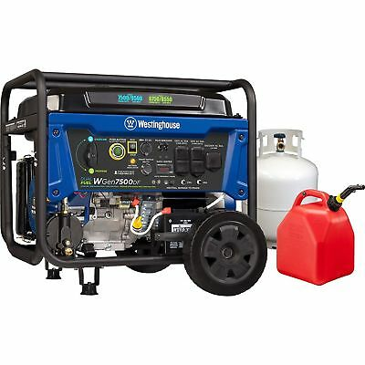 WESTINGHOUSE 7,500-W DUAL Fuel Gasoline Propane Portable Generator Remote  Start
