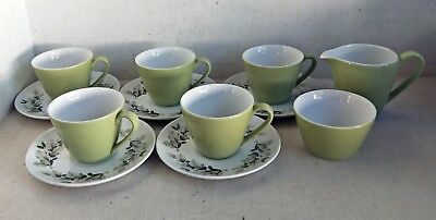 Vintage 12 Piece Coffee/Tea Set: Johnson Bros England, Green Oak & Acorns (8434)