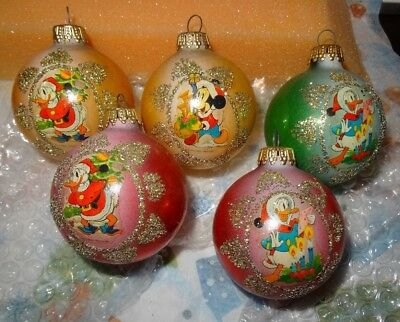 Vintage Made in West Germany Disney Holiday Christmas Ornament balls Lot of 5
