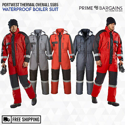 Portwest Winter Padded Thermal Coverall Overall Work Waterproof Boiler Suit S585