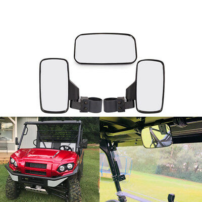"UTV Rearview Side Mirror & Center Mirror Set 1.75"" 2"" Bar For Polaris RZR Ranger"