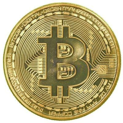 Gold Bitcoin Commemorative Round Collectors Coin Bit Coin Gold Plated Coins ON