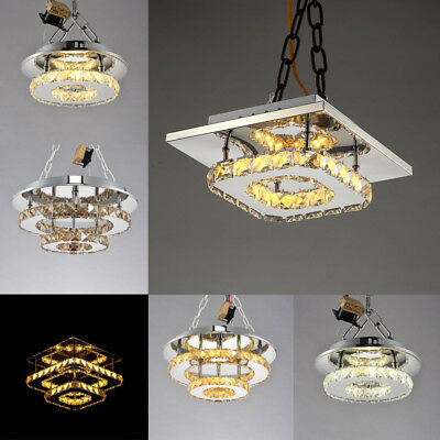 Crystal Round / Square LED Chandelier Modern Ceiling Light Aisle Lamp Shades