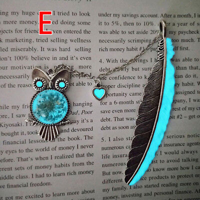 1X Luminous Night Owl Bookmark Label Read Maker Feather Book Mark Stationery ^P