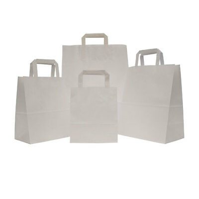 Kraft Paper White SOS Bags For Food Carrier Takeaway Party with Handles