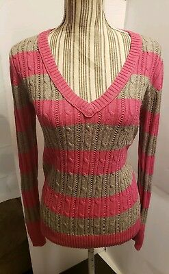 Arizona Jeans Company Pink/Lt Brown Striped V-Neck Sweater Size XL