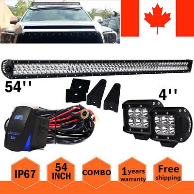 "54"" inch Straight LED Light Bar + 2 x 4"" Pods Offroad Truck 4WD SUV"