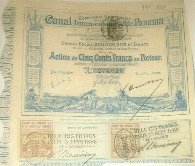 1886 Panama Compagnie Universelle Canal Interoceanique French Bond / Stock