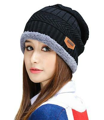 a15971c1595509 HINDAWI WOMEN WINTER Warm Knit Hat Wool Snow Caps With Visor, Black ...