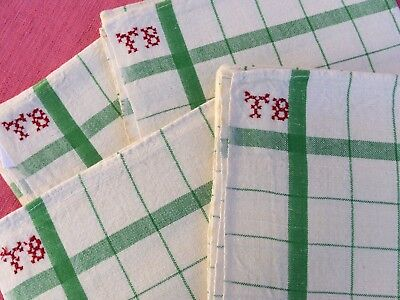 Unused Vintage French Linen Metis Torchons Tea Towels Green Stripes And Squares