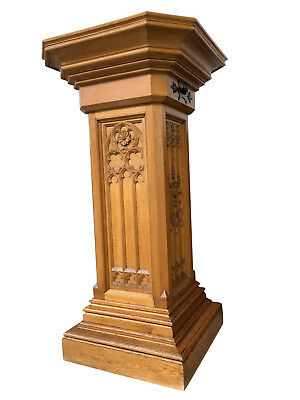 """Large French Gothic Pedestal, 51"""" Tall, Oak, 1900's"""