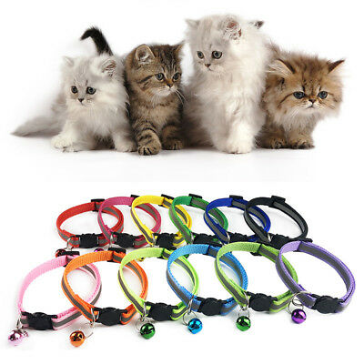 Reflective Night Safety Collar Necklace Buckle Bell Dog Pet Cat Bright Nylon 1PC