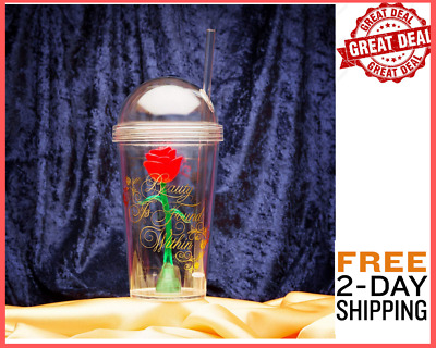 The Beast Enchanted Rose and Disney Beauty Drink Cup Tumbler Sculpted Removable