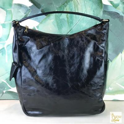 3c56d3e71d  1250 YVES SAINT LAURENT Black Patent Leather Hobo Shoulder Bag Zipper  SALE! EUC