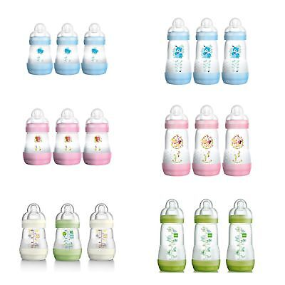 MAM Baby Feeding Pack Of 3 Anti-Colic Self-Sterilising Bottles With Silk Teats