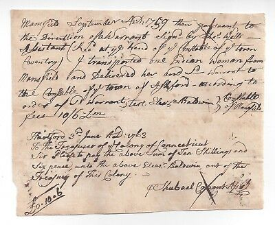 RARE 1759 Native American INDIAN Document, CT / Mansfield, Coventry, Ashford