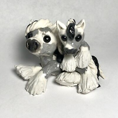 Duo horse figurine polymer clay