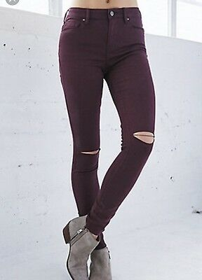 7e0803d701b69 Pacsun Maroon Skinny Jeggings Size 29 Ripped Distressed High Rise Denim  Jeans