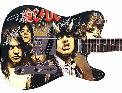 AC/DC  Autographed Signed Custom Graphics Guitar