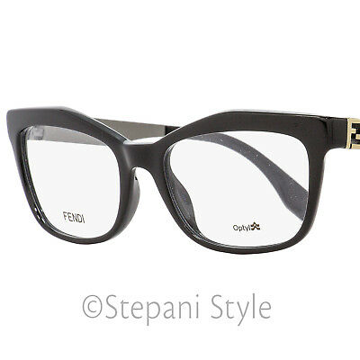 804597f8e2 Fendi Rectangular Eyeglasses FF0050 KKL Black Gold Gunmetal 53mm 050
