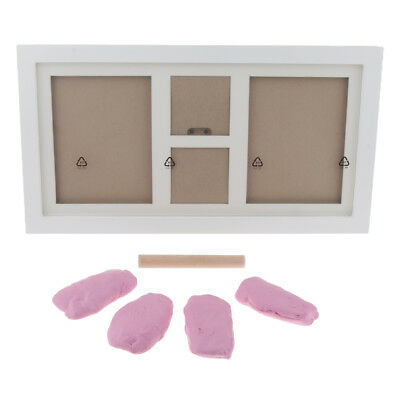 Baby Footprint Foot or Hand Print Photo Frame Set Kit Christening Gift Pink