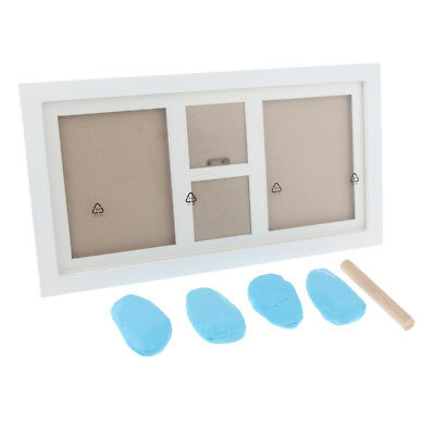 Baby Footprint Foot or Hand Print Photo Frame Set Kit Christening Light Blue