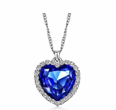 Titanic Heart Of The Ocean Sapphire Blue CZ Crystal Necklace Pendant Jewelry 18""