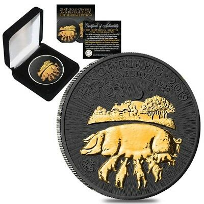 2019 Great Britain 1 oz Silver Year of the Pig Coin Black Ruthenium Gold Edition