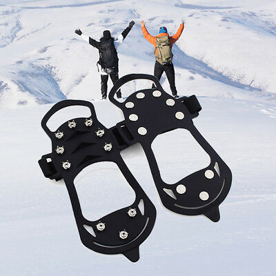 UK HOT Non-slip Snow Cleat Shoes Boots Step Ice Spike Grip Crampons For Hiking