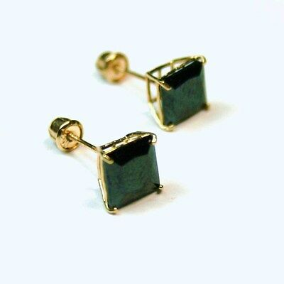 6cfb18ae7 14K solid yellow/w gold 6mm square natural lack Onyx stud earrings screw  back