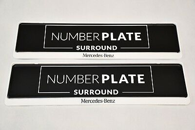 2 x PREMIUM WHITE STAINLESS STEEL NUMBER PLATE SURROUND HOLDER FRAME * AMG