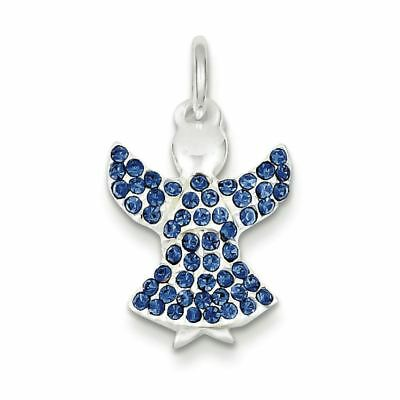 Sterling Silver with Stellux Crystal Angel Charm Pendant MSRP $36