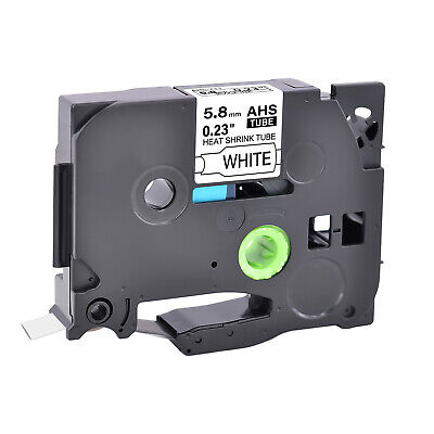 """Heat-Shrink Tube Label Tape for Brother Black on White HSe-211 HSe211 0.25"""" E500"""