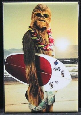 "Surfing Chewbacca 2"" X 3"" Fridge / Locker Magnet. Star Wars Wookie"