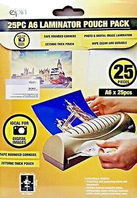 Sb Elpin Laminating Pouches A6 25 Pack School Home Office Craft Design Photo New