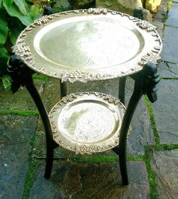 Ebonised Antique Chinese Folding  2 Tiered Side Table With Brass Trays