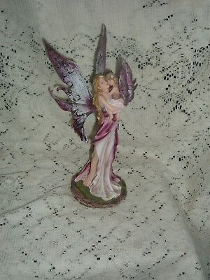 "Purple Fairy Mother And Child  Resin Figurine 10"" X 4"" X 4 "" 91184  New  Box"
