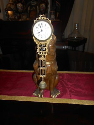 clock mystery 19th century metal in the form of  figure of Dog