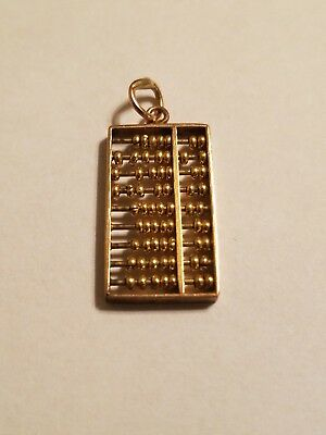 Vintage Solid 14k Yellow Gold Moveable Chinese Abacus Counter Charm Pendant